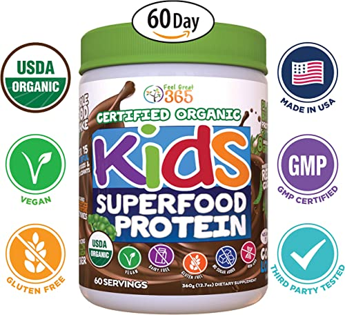Feel Great 365 USDA Organic Green Superfood Kid s Protein Powder 60 Day , Mocha Chocolate Vegan Smoothie Mix with Vitamins, Prebiotics, Probiotics, Antioxidants Natural Enzyme Support, Gluten Free