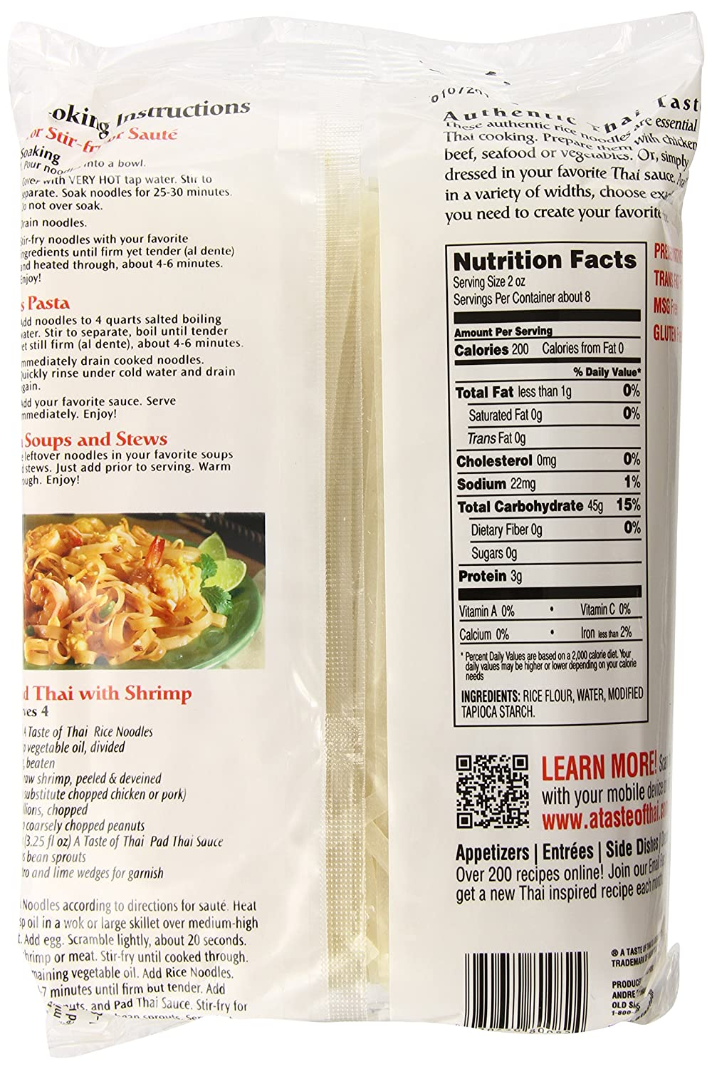 Amazon.com : A Taste of Thai Rice Noodles, 16-Ounce Boxes (Pack of 6 ...