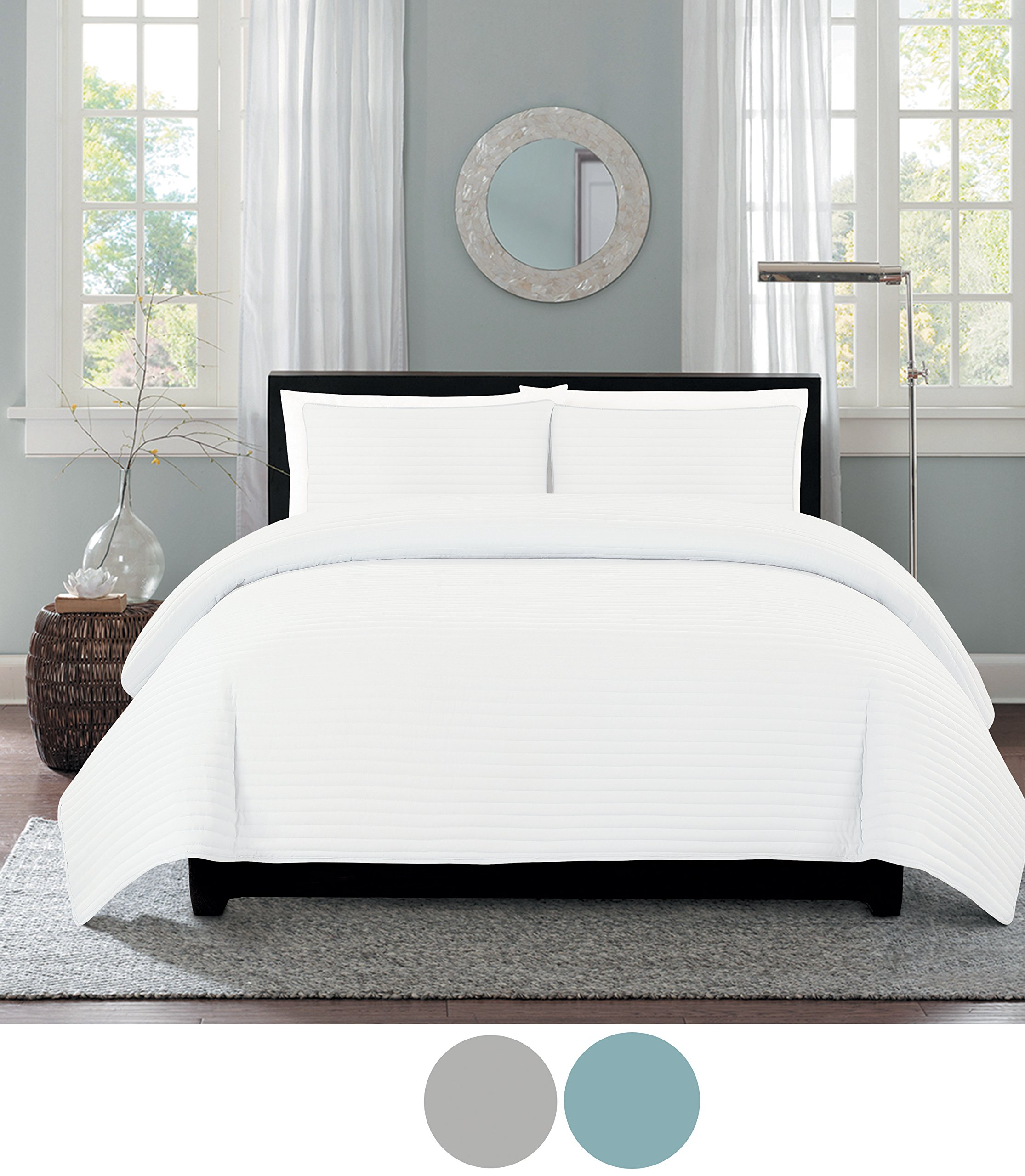 Eastend Home Fashions One Inch Channel quilt set, Twin, Bright White