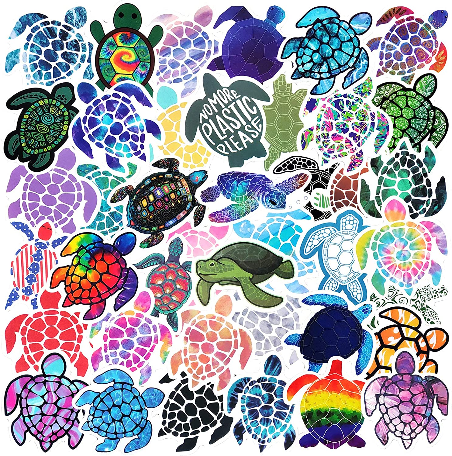 Multicolor Artistic Turtle Shaped Sticker Decal