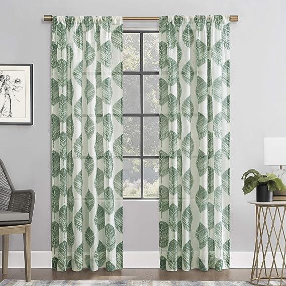 Scott Living Angelou Leaf Print Linen Blend Sheer Rod Pocket Curtain Panel 52 X 63 Forest Green Home Kitchen Amazon Com