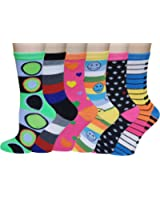 Sumona 6 Pairs Women Colorful Fancy Design Soft & Stretchy Novelty Crew Socks
