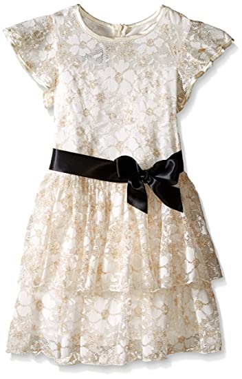 Vintage Style Children's Clothing: Girls, Boys, Baby, Toddler Tiered Metallic Lace Dress $45.99 AT vintagedancer.com
