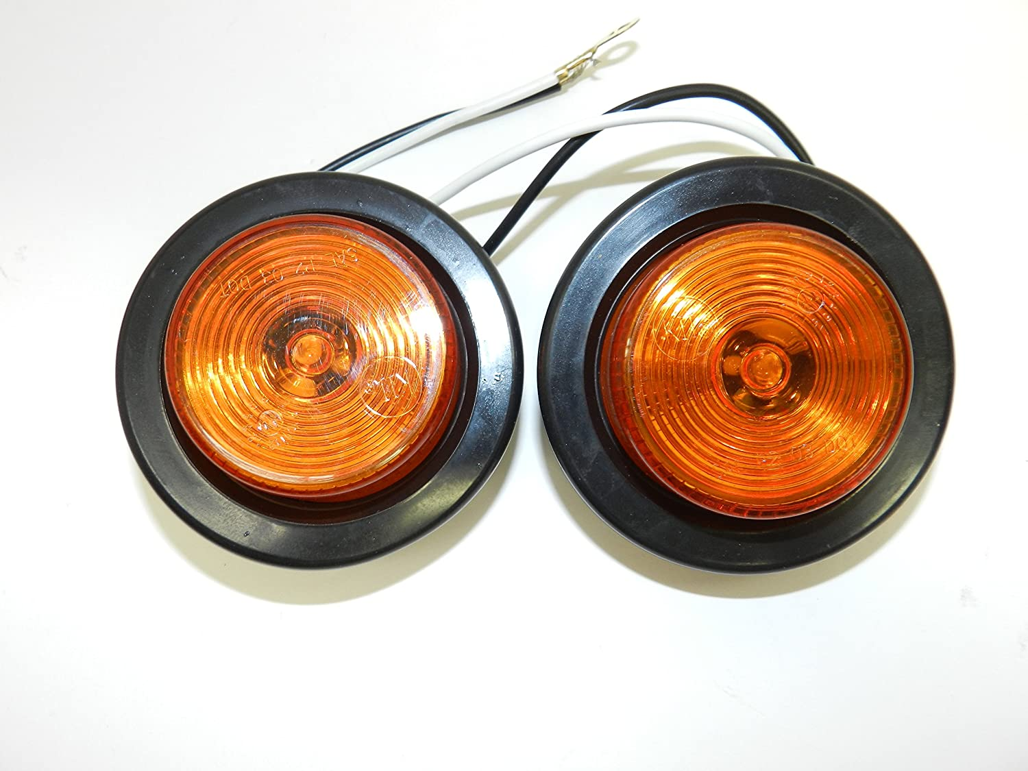 RVs Trailers Pair of LED 2.5 Round Amber Clearance//Side Marker Lights with Grommets and 2 Pole Wire Connectors for Trucks