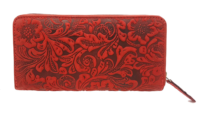 Greenburry Geldbörse Leder Damenbörse lang 12Kartenfächer Portemonnaie pink