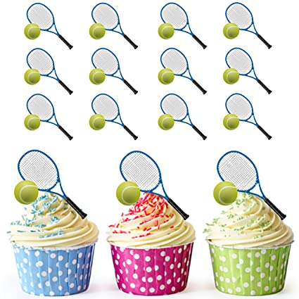 Tennis Racket And Ball Cupcake Toppers Cake Decorations Pack Of