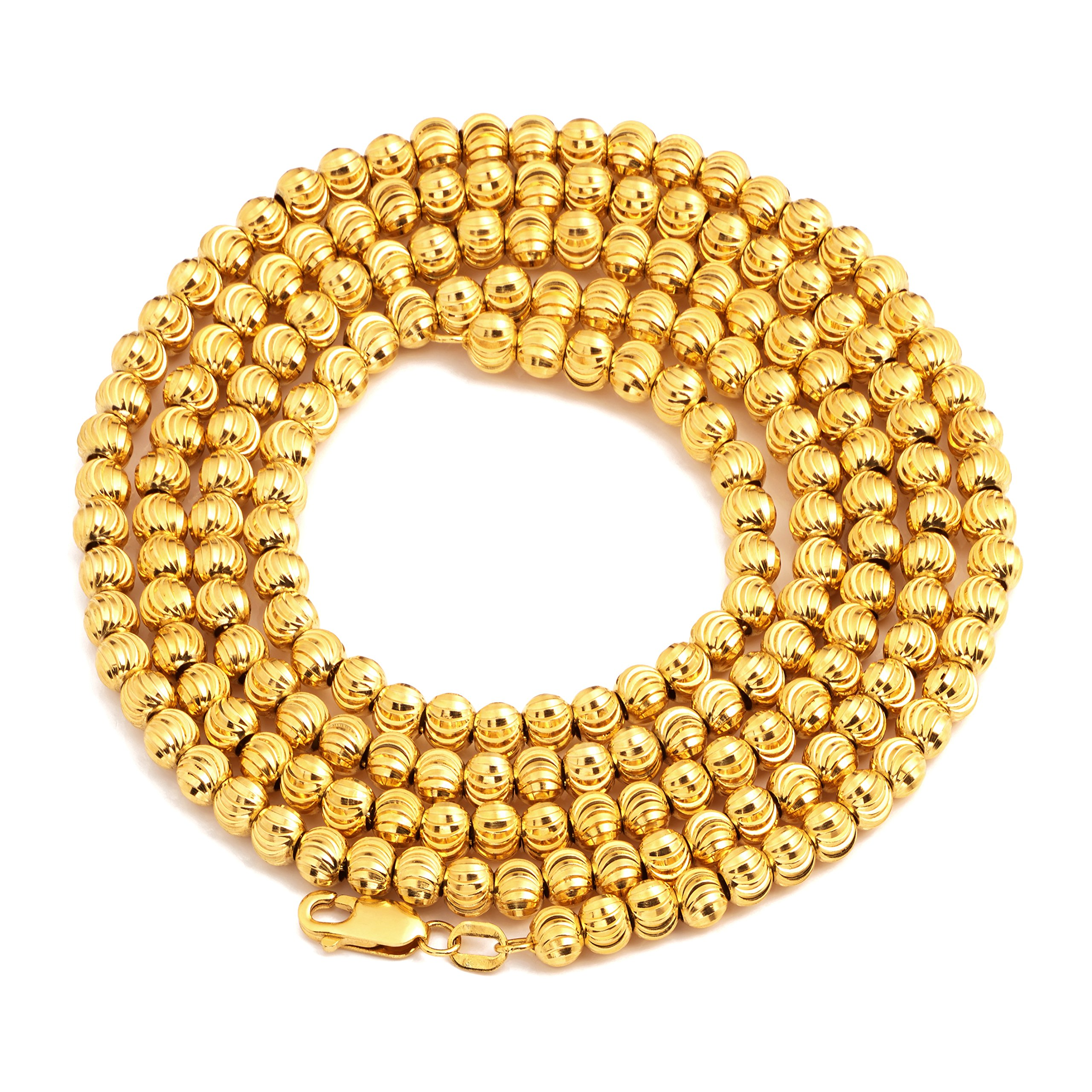 LoveBling 10K Yellow Gold 6mm Italian Moon Cut Bead Chain Necklace with Lobster Lock (24'')