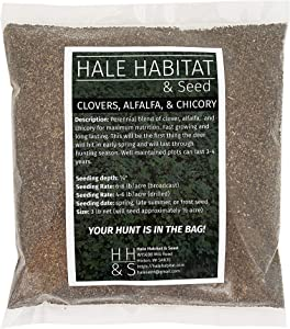 Hale Habitat & Seed, Clovers, Alfalfa, and Chicory, Deer Food Plot Seed, 1/2 Acre, Perennial, Year-Round Attractant