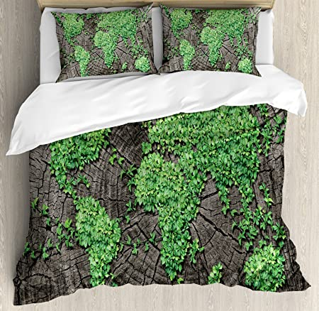World map duvet cover set by ambesonne map on tree trunk with green world map duvet cover set by ambesonne map on tree trunk with green leaves forest gumiabroncs Image collections