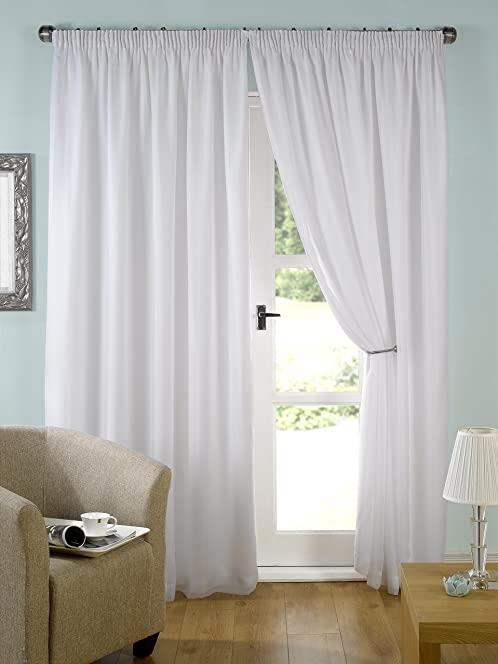Kliving 65 X 54 Inch 100% Polyester Evie Lined Pencil Pleat Voile Curtains,