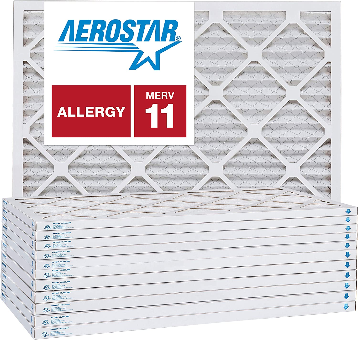 Box of 12 MERV 11 16 3//8x21 1//2x1 Carrier Replacement Filter by Aerostar