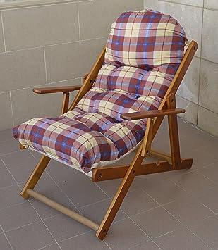 Sessel Liegestuhl Haus Garten Relax In Holz Faltbar Kissen Super Gepolsterte H 100 Cm Wohnzimmer Kche