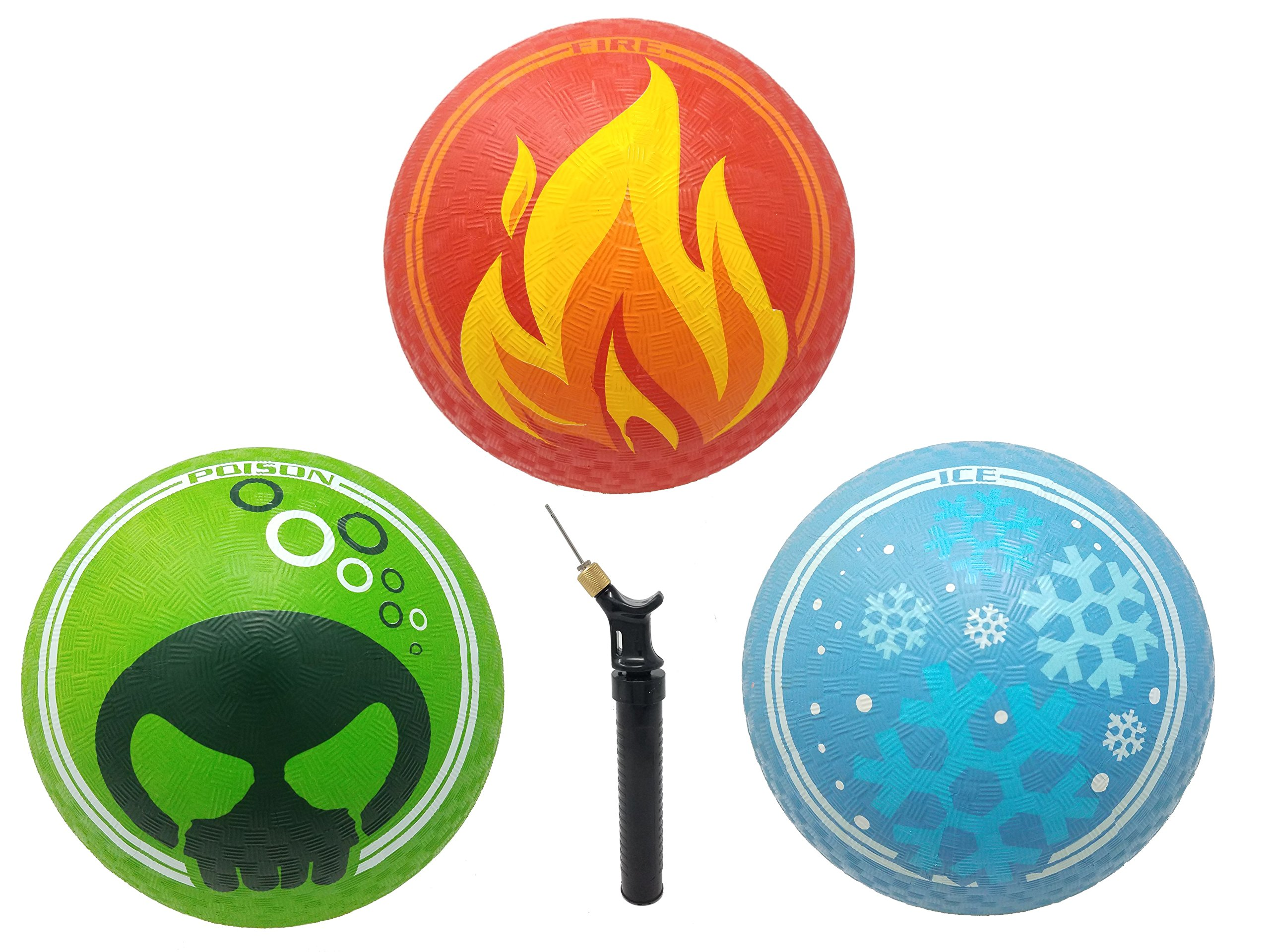"""JUJU Athletics Elemental Rubber Balls – Ideal for the Playground - 8.5"""" – Fire, Ice and Poison Designs – Includes Dual Action Ball Pump - Dodgeball, Kickball and Foursquare – 3 Pack by"""