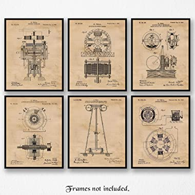 Original Science Tesla Patent Poster Prints, Set of 6 (8x10) Unframed Photos, Wall Art Decor Gifts Under 20 for Home, Office, Garage, Man Cave, School Lab, College Student, Teacher, Scientist & Fan