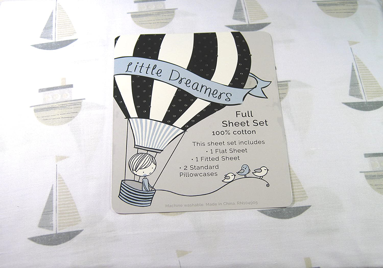 Little Dreamers 4 Pc. Full Size Sheet Set Sailboars and Tugboars 100% Soft Touch Cotton