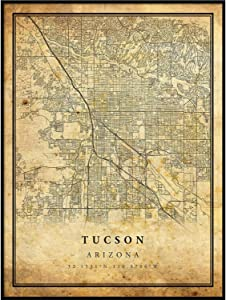 Tucson map Vintage Style Poster Print | Old City Artwork Prints | Antique Style Home Decor | Arizona Wall Art Gift | map walll Art 8.5x11