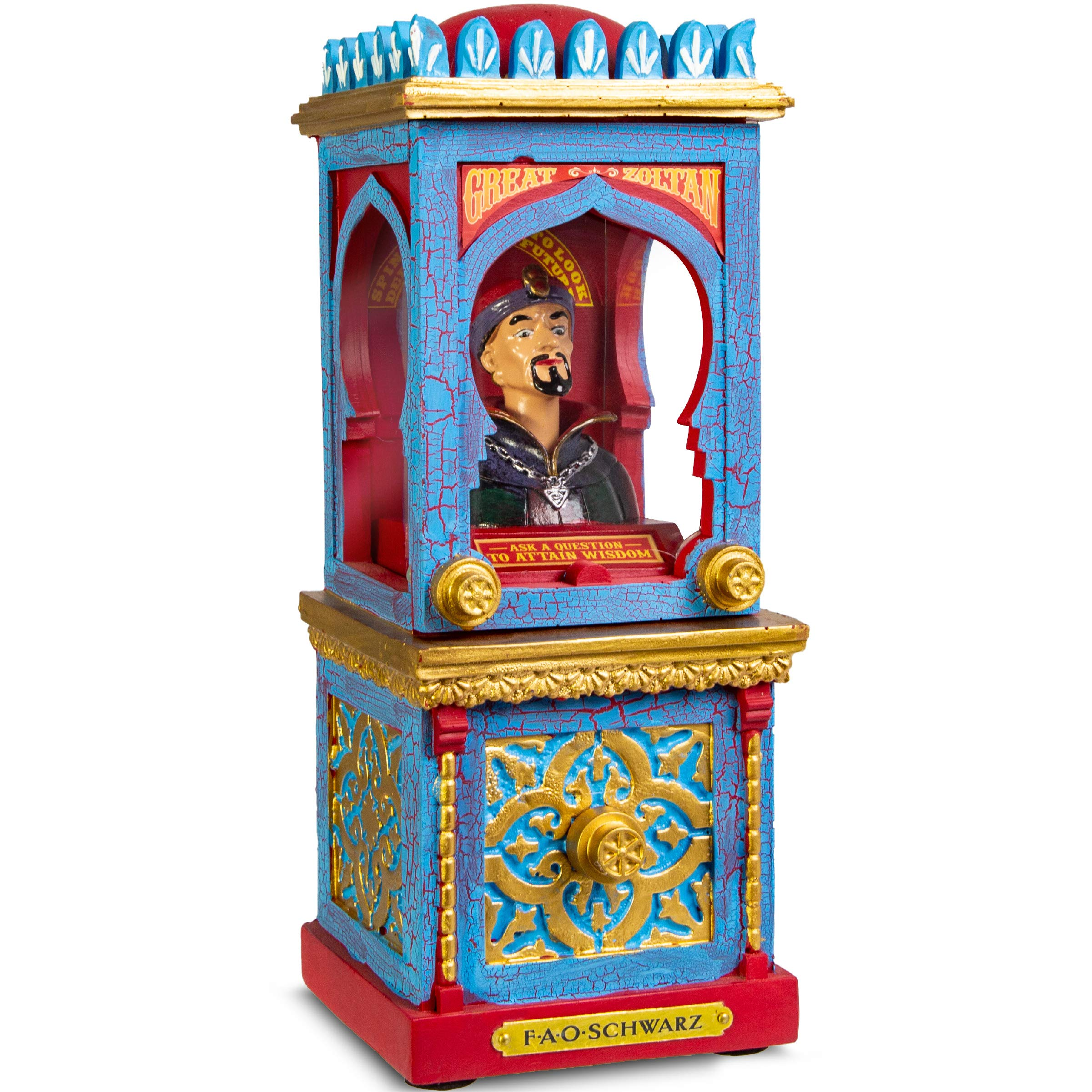 FAO Schwarz Zoltan The Fortune Teller Vintage Carnival-Style Fortune Telling Machine, Button-Activated Talking Fortunes with LED Light & Animation; Classic Retro Design in Blue/Red/Gold