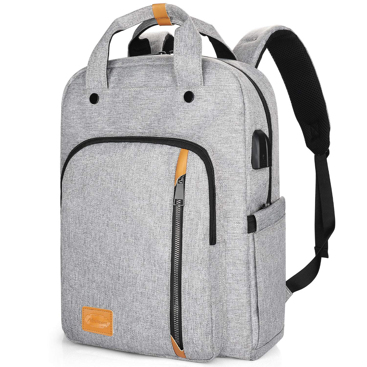 Computer Backpacks for Laptops 15.6 Inch, Padded Travel Laptop Backpack for Women Men, Water Resistant Large Capacity Daypack Bookbag Rucksack for College High School Student Work Business Bag- Grey