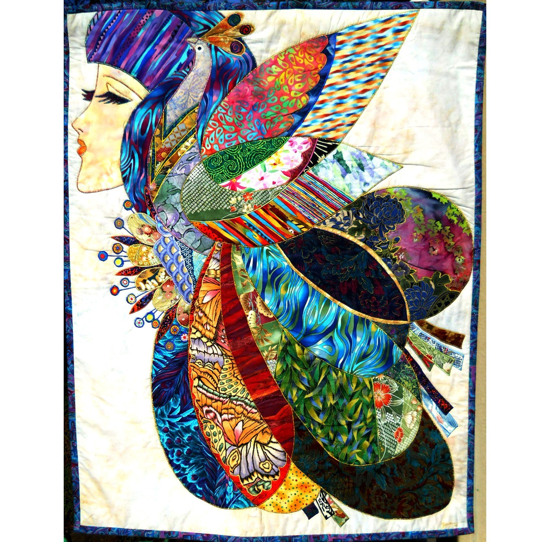 OOAK Textile Wall-hanging Art Quilt Tapestry, Enchantment, Peacock & Girl Face, New Home Decor Gift