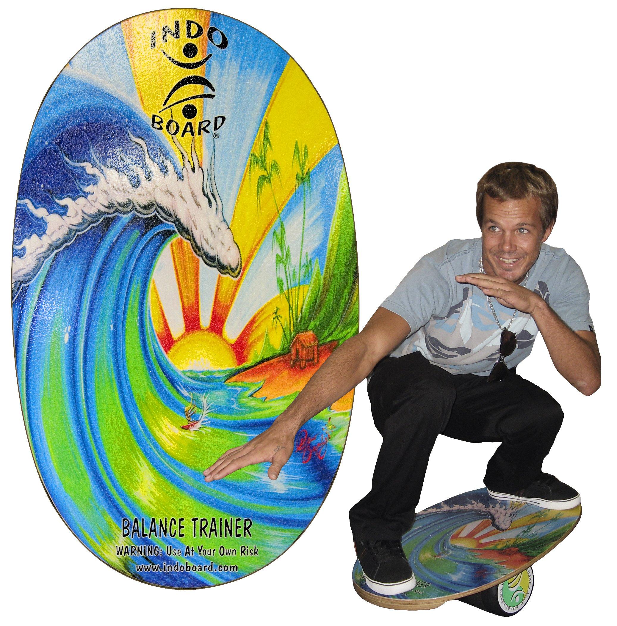 "INDO BOARD Original Balance Board with 6.5"" Roller and 30"" X 18"" Non-Slip Deck – Bamboo Beach Design by INDO BOARD (Image #6)"