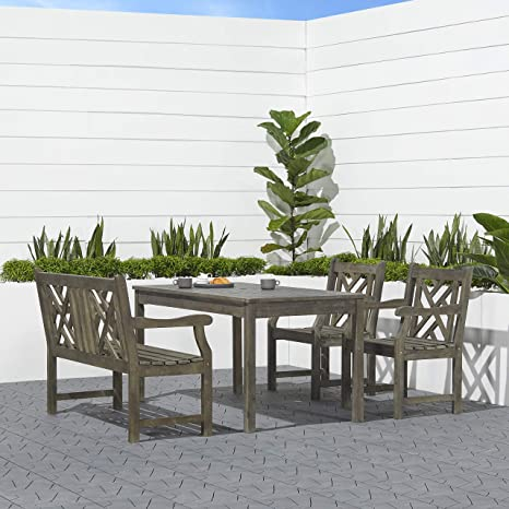 Awe Inspiring Vifah V1297Set18 Versailles Outdoor 4 Piece Hand Scraped Wood Patio Dining Set With 4 Foot Bench Ocoug Best Dining Table And Chair Ideas Images Ocougorg