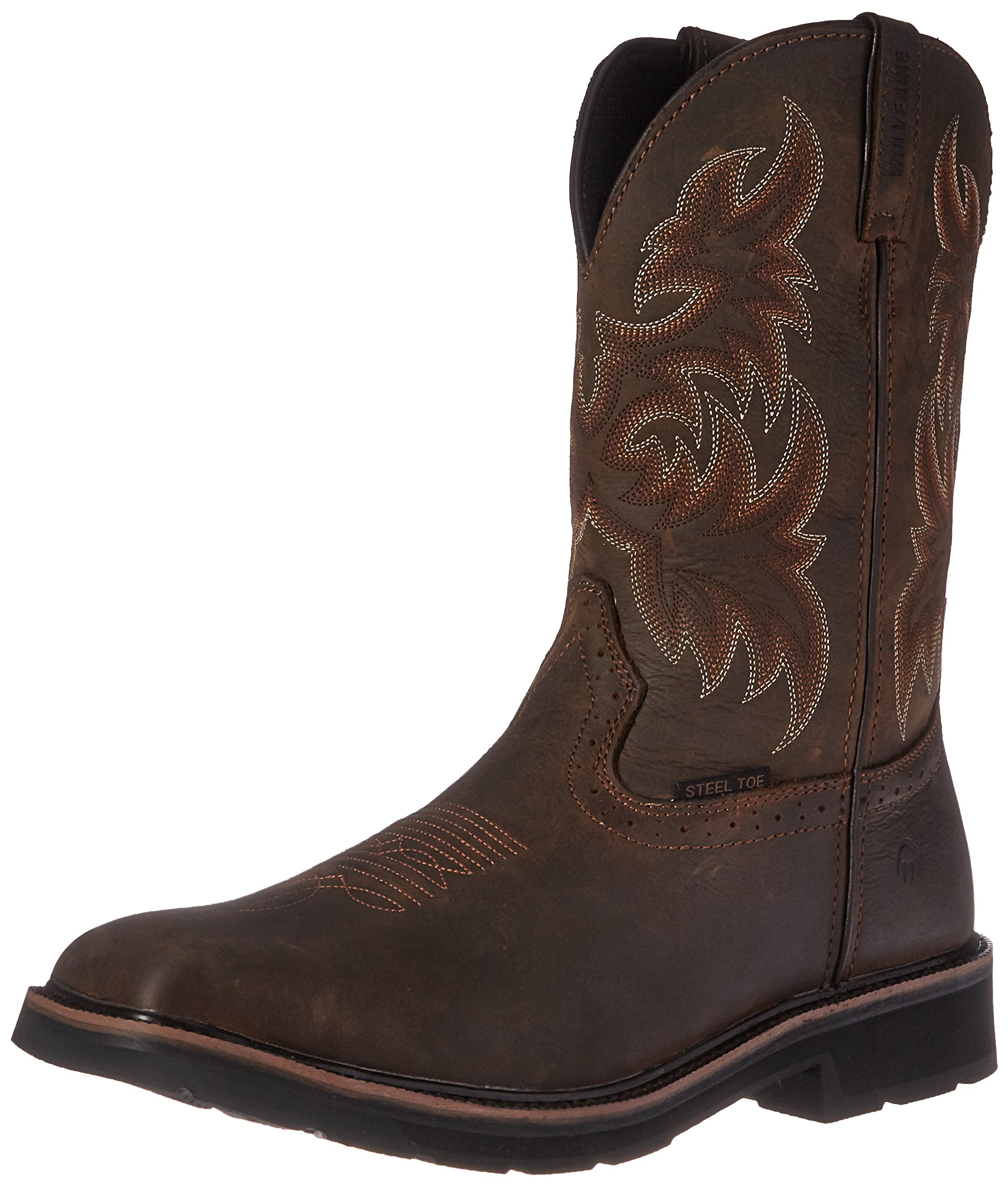Wolverine Men's Rancher 10'' Square Steel Toe Work Boot, Dark Brown/Rust, 9 M US