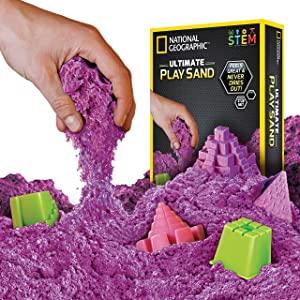 NATIONAL GEOGRAPHIC Play Sand - 2 LBS of Sand with Castle Molds and Tray (Purple) - A Kinetic Sensory Activity