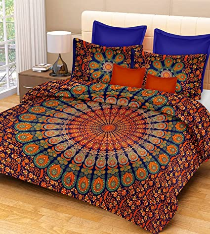 Jaipur Prints Double Bedsheet With Pillow Covers (Cotton 100 % Cotton  Comfort Rajasthani Jaipuri Traditional