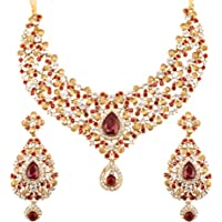 Touchstone Indian Bollywood Traditional Floral Theme White Rhinestone Bridal Designer Jewelry Necklace Set for Women