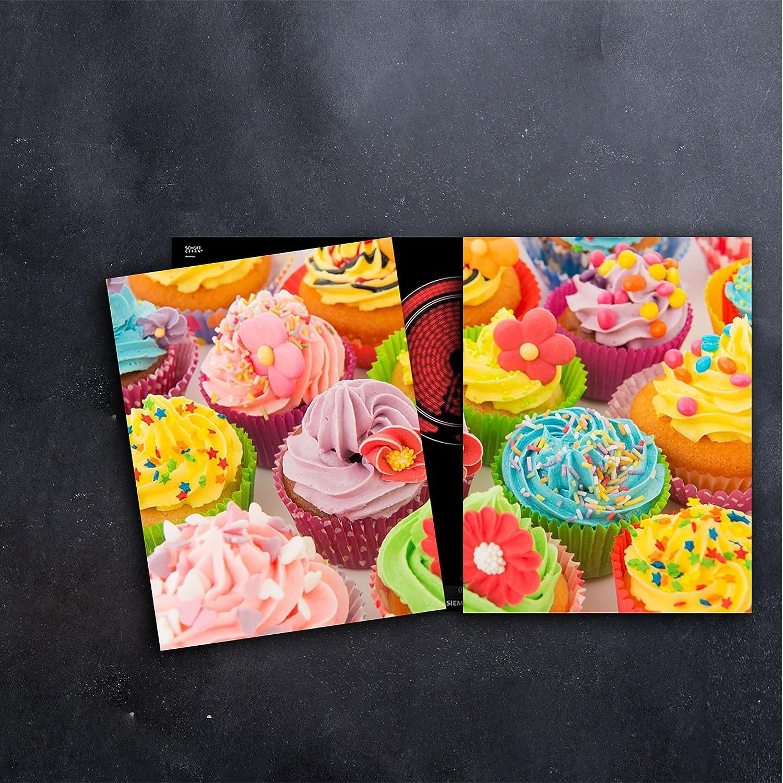 DAMU Herdabdeckplatten 2 x 40 x 52 cm Ceranfeldabdeckung Schutz Herdblende 80x52 2teilig Glas Spritzschutz Abdeckplatte Glasplatte Herd Ceranfeld Abdeckung Schneidebrett Cupcake Bunt