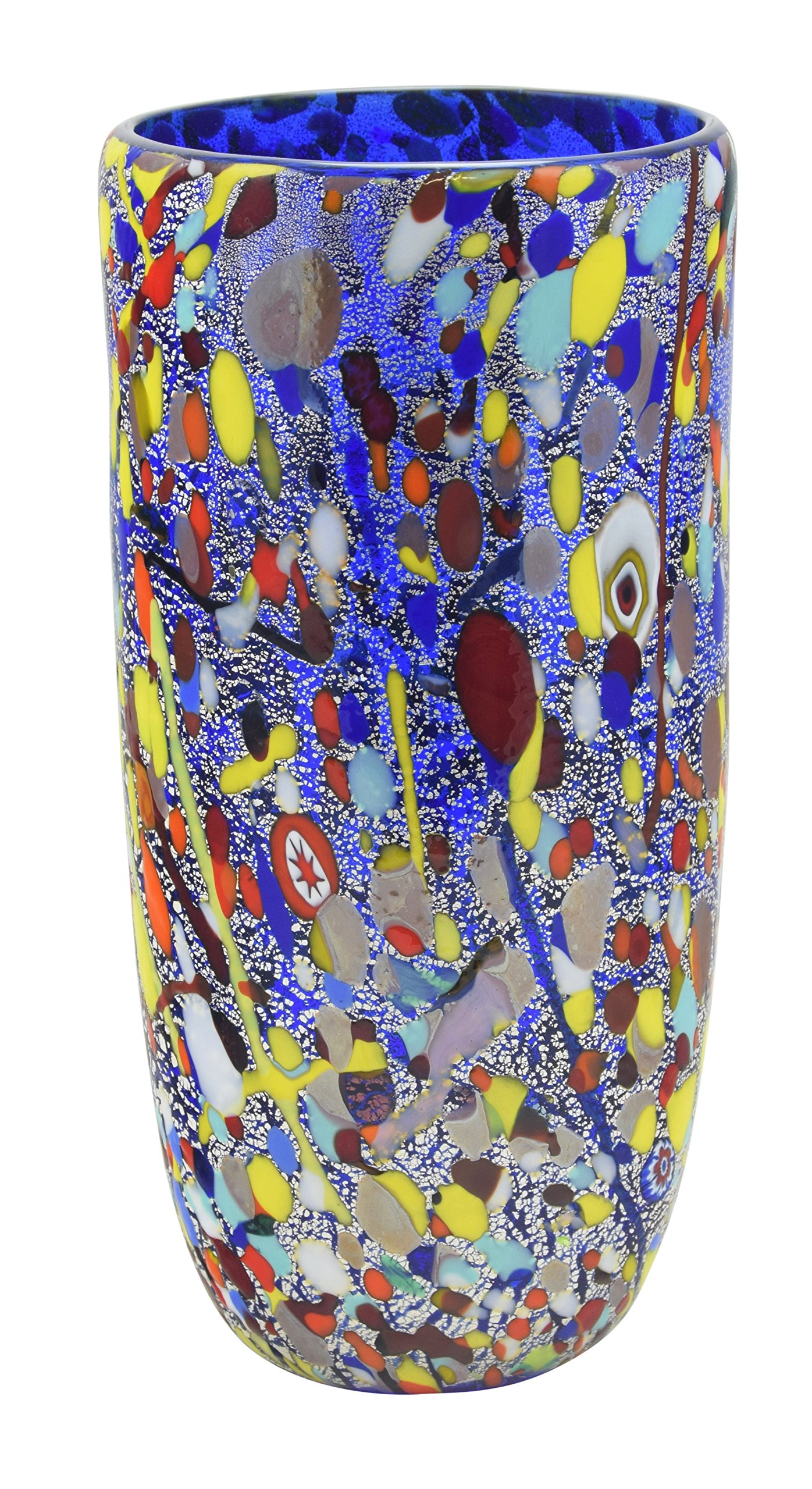 VASO CONICO ARLECCHINO Murano Glass Gold Leaf Murrine Vase Decor Venice Made Italy by Boteghe - Real Made in Italy