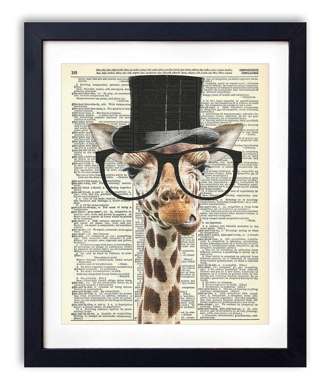 Gentleman Giraffe Upcycled Vintage Dictionary Art Print 8x10