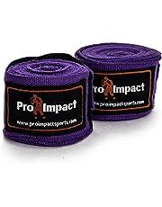 Cintas protectoras de manos Pro Impact para boxeo y MMA, estilo mexicano, 4,57 m, 1 par, color negro … (Púrpura)