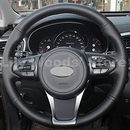 JI Hand Sewing Black Genuine Leather Steering Wheel Cover for 2015 2016 Kia Sedona/2016