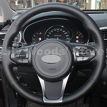 JI Hand Sewing Black Genuine Leather Steering Wheel Cover for 2015 2016 Kia Sedona/2016