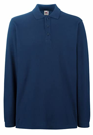 c0589a727c1a Premium Long Sleeve Polo von Fruit of the Loom S M L XL XXL XXL  verschiedene Farben  Amazon.de  Bekleidung