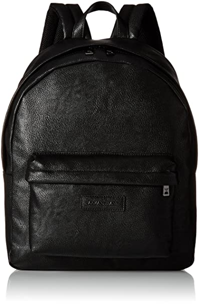 6f6cbc7bf7c Armani Jeans Men s Pu Logo Patch Backpack, Black  Amazon.in ...