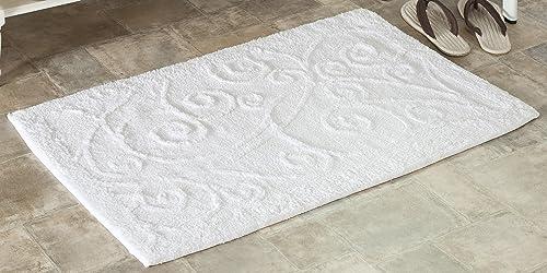 Safavieh Plush Master Bath Collection PMB637W Handmade White Cotton Bath Mat