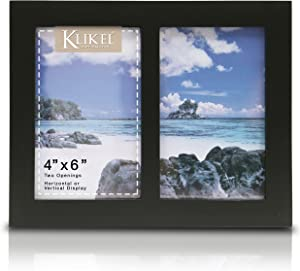 Klikel Photo Collage Frame - Black Wooden Wall Frame - 2 Openings – 4x6 Pictures - Decorative Family Picture Frame