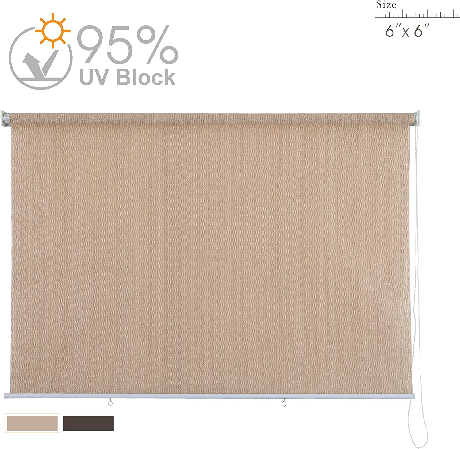 PHI VILL Sun Shade Roller Outdoor Blinds Patio Roller Shade Sun Block 95 UV Protection 6 W x 6 L Wheat