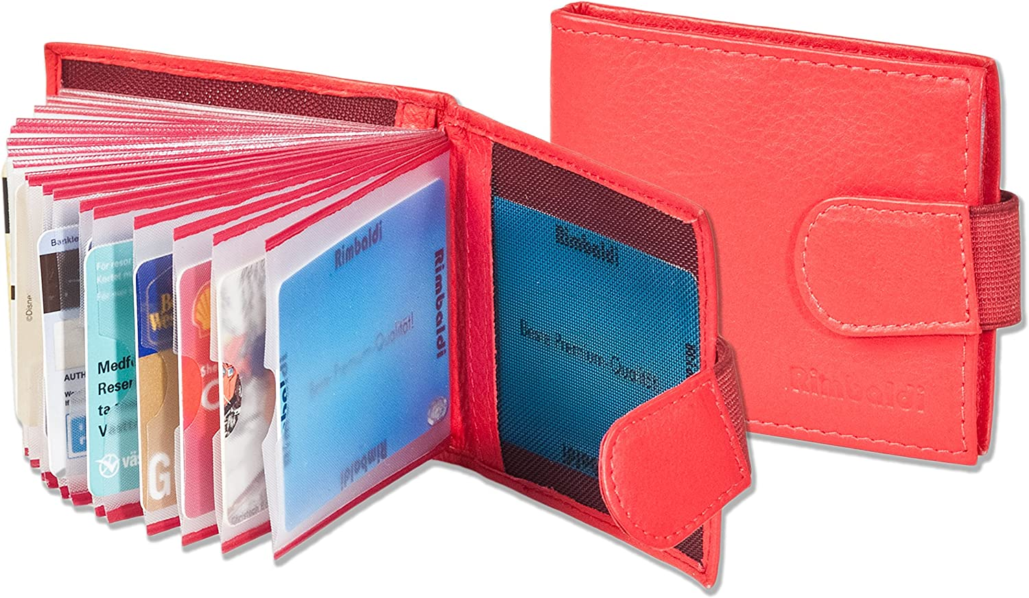 made from soft Rimbaldi untreated calf leather in Rot Credit card holder for 28 cards or 36 business cards