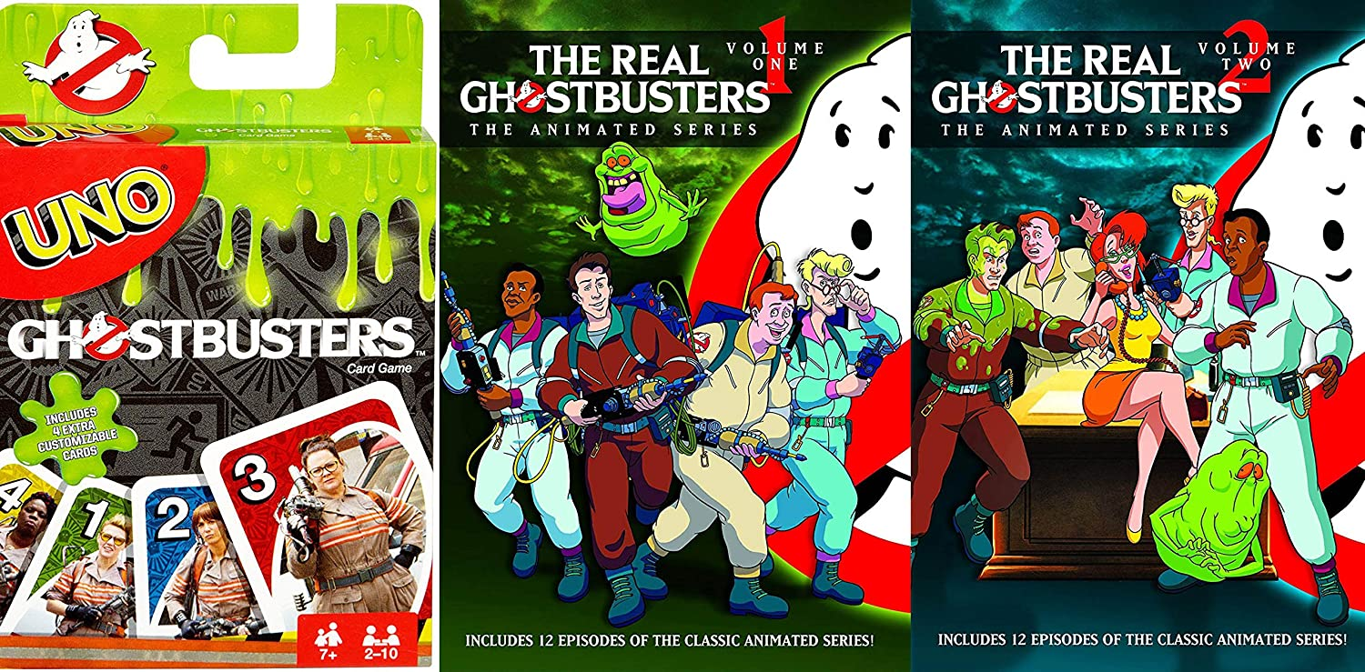 American Animated Classic: The Real Ghostbusters (the animated series) Vol1/ Vol 2 & UNO Ghostbusters (2 Pack DVD & Card Game Bundle)
