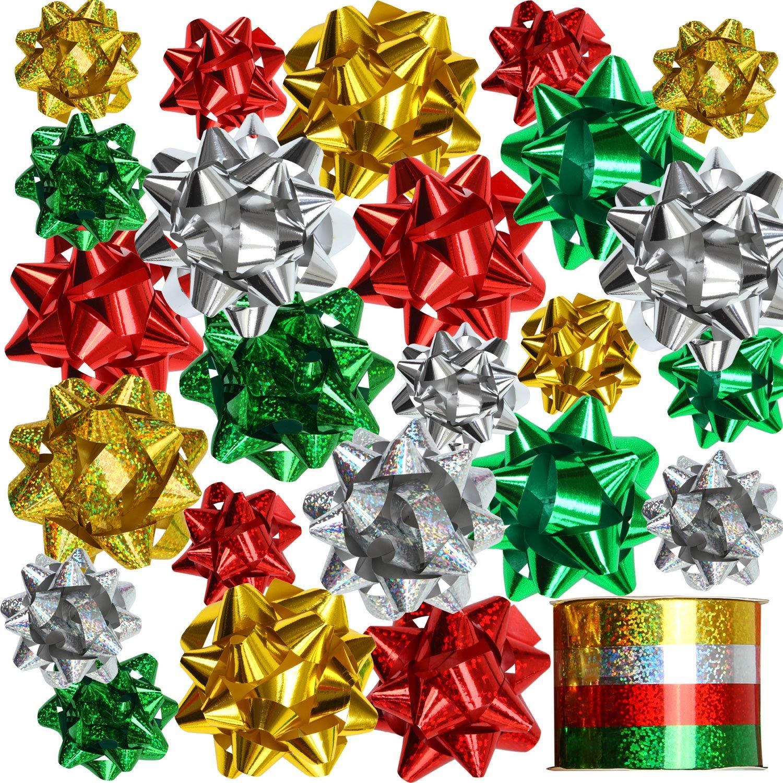 Elcoho 24 Fiocchi Adesivi con 4 Rotoli di Natale per Natale Fiocchi Nastri cestini Bottiglie di Vino Decorazione Confezione Regalo e Decorazioni Present