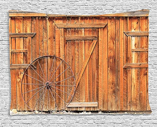 Ambesonne Western Decor Collection, Ancient West Rural Town Rustic Weathered Wooden Wall Door Wagon Wheel in Front Image, Bedroom Living Room Dorm Wall Hanging Tapestry, 80 X 60 Inch