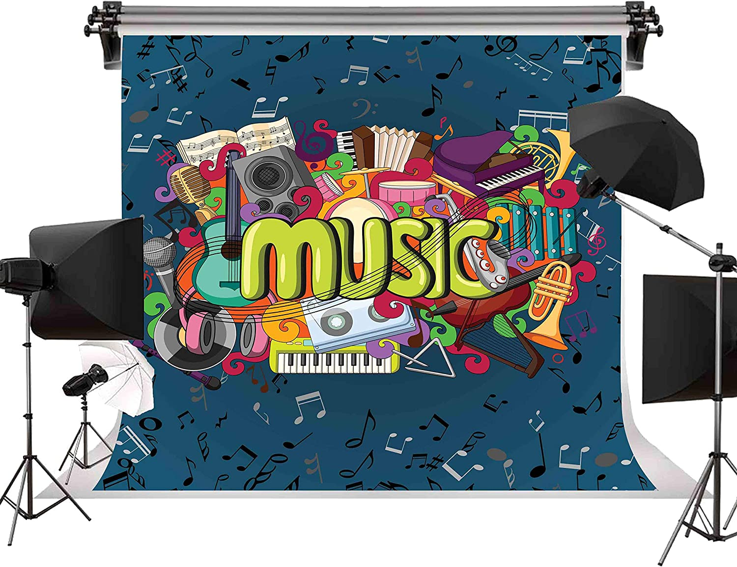 FLASIY 10x10ft Music Photography Backdrops Music Instrument Background Video Studio Photo Shooting Props LYAY232