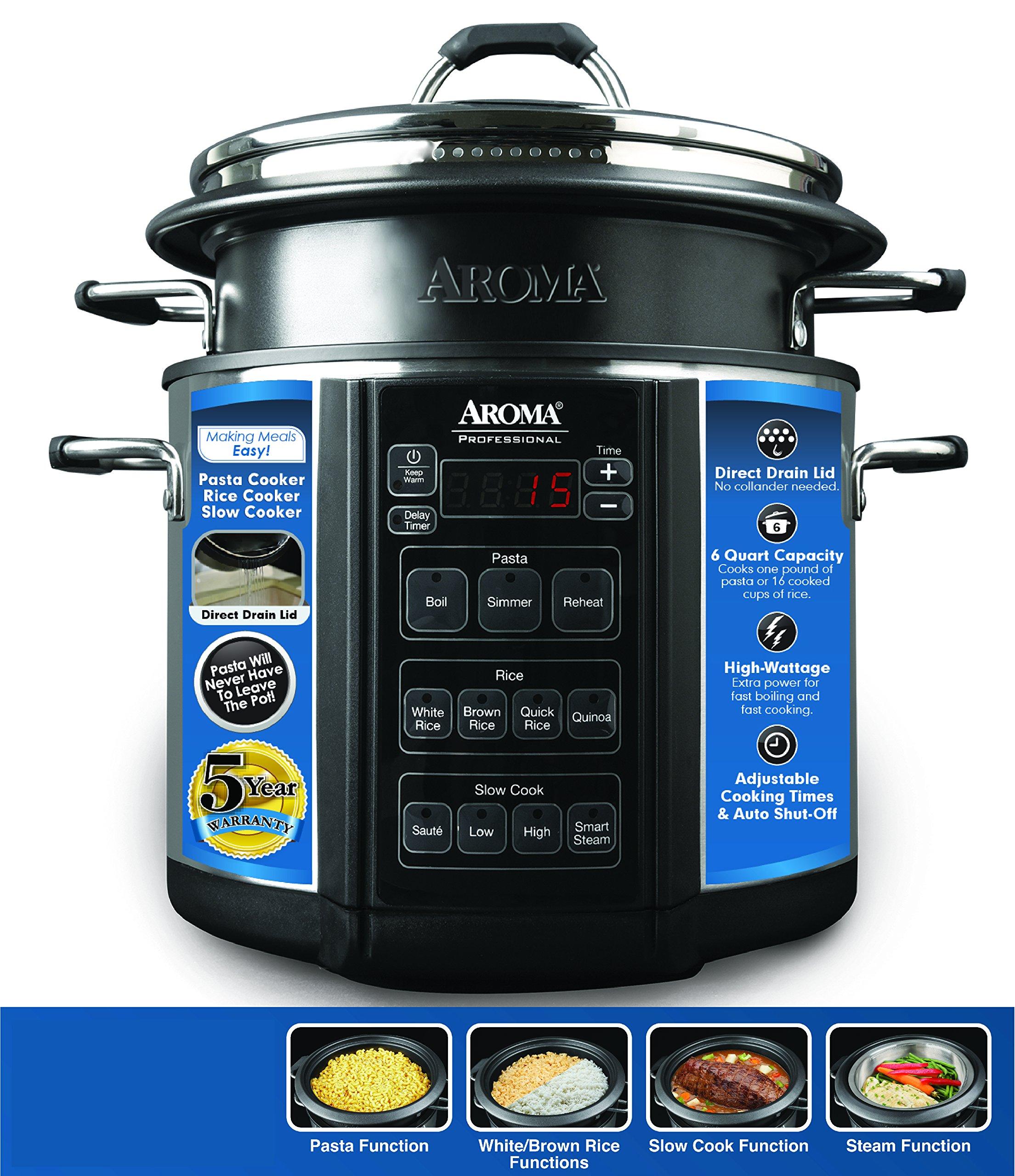 Aroma Professional Slow Cooker, 6 quart, Silver (AMC-300SG)