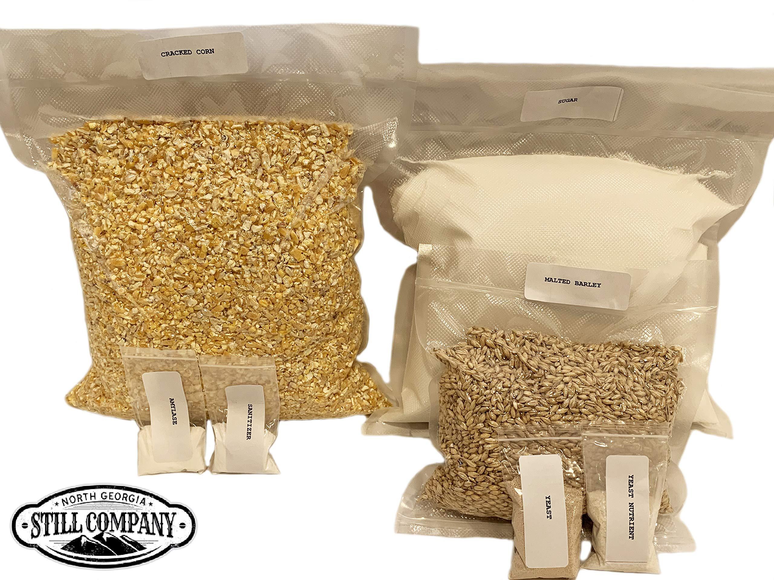 Complete Cracked Corn, Malted Barley Whiskey Mash & Fermentation Kit by North Georgia Still Company