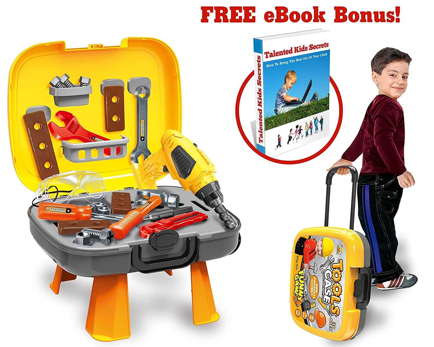 4 in 1 Tool Set, 40-Piece Set Of Construction Toys And Accessories For Kids & Toddlers Ages 3+, Provides Realistic STEM Innovation and Learning For Boys & Girls! BONUS Ebook: Talented Kids Secrets! Tevelo