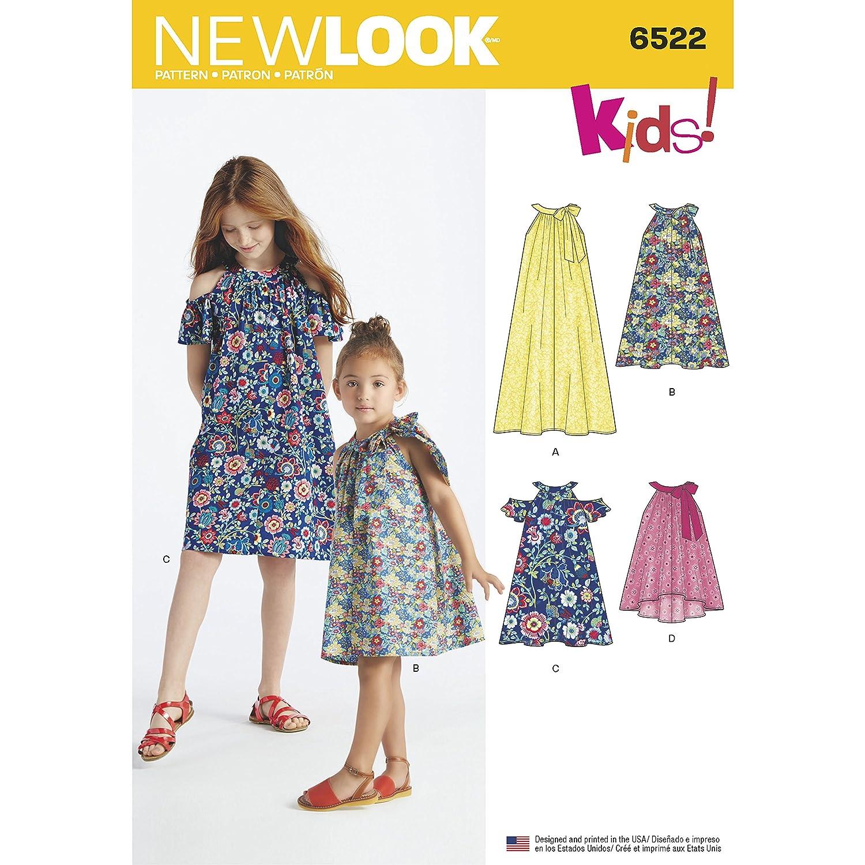 Simplicity New Look–Cartamodello per vestiti da bambino e bambina e top, bianco UN6522A
