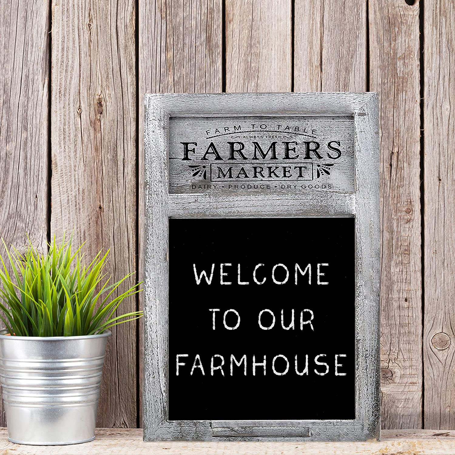 "Barnyard Designs Rustic Farmers Market Chalkboard Sign - Decorative Chalkboard Display Board for Restaurant, Kitchen, Home, Weddings and More 17"" x ..."